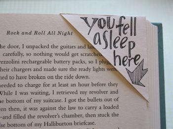 corner bookmark from an envelope