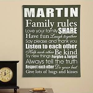 martin family rules canvas - Google Search
