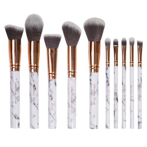 Glamher Booth 10 Piece Marble Brush Set With Case At Beauty Bay Makeup Brush Set Eye Makeup Brushes Set Sephora Brush Set