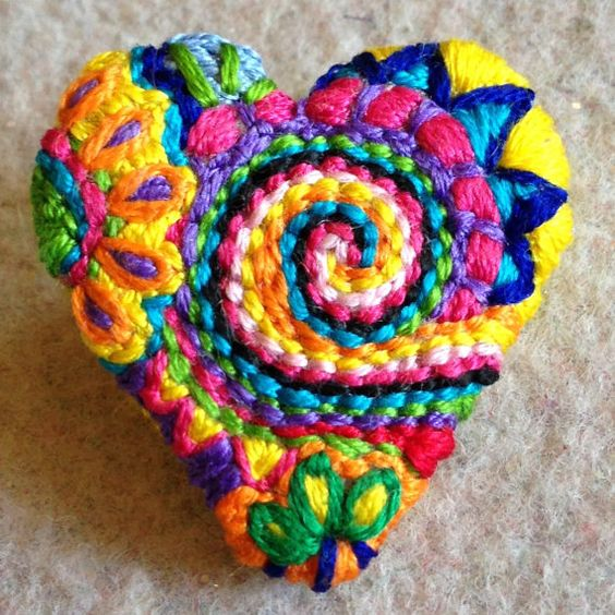 small freeform embroidery heart brooch bright floral by Lucismiles