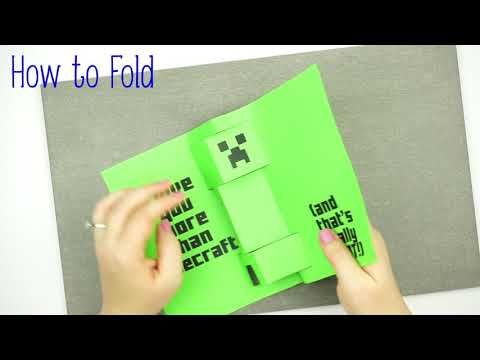 A Step By Step Tutorial On How To Make A Minecraft Father S Day Card With A Pop Up Creeper It S Sim Minecraft Birthday Card Diy Pop Up Cards Dad Birthday Card