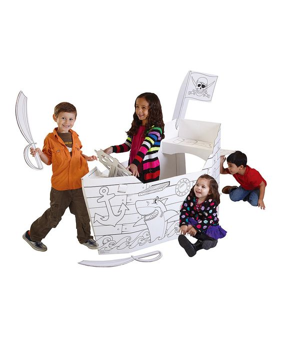We own this pirate ship and highly recommend it! Easy to set up and take down, kids loved coloring it and it's held up so well under lots of play!