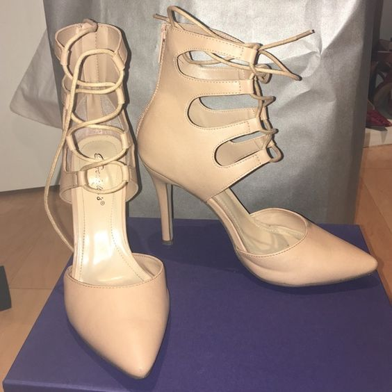 Nude Leather lace up heels! Every it girl is wearing lace up heels with skirts and dresses for spring and fall! Worn once! Perfect condition. Breckelles Shoes