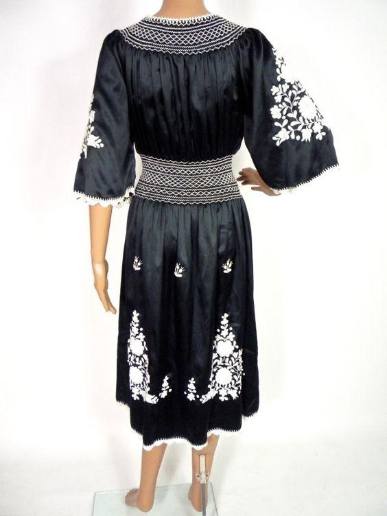 beautiful 70s black satin peasant midi dress with folk