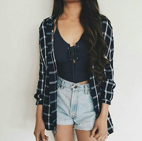 Cute outfit. Highwaisted denim shorts. Tank and flannel. Cute outfit. Teen fashion