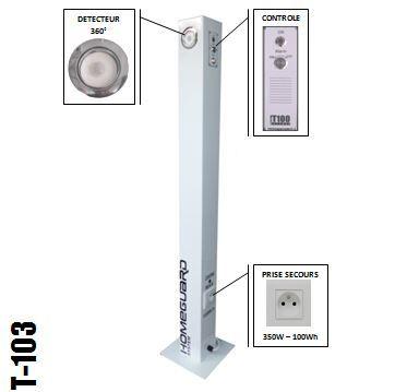 Alarme intrusion et prise de secours T103 - SECURITE et ENERGIE. Transformez votre alarme intrusion en alimentation électrique de secours.
