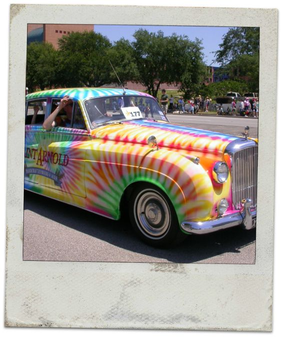 Groovy tie-dye retro ride | Would you roll in this, baby? :) http://www.pacifictireoutletinc.com ...