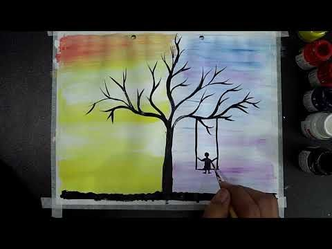 Day And Night Scenery Poster Color Painting Watercolor