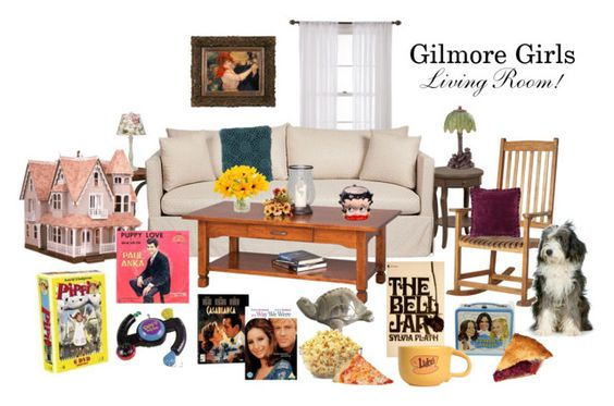 Gilmore Girls Living Room! by lovely2298 on Polyvore featuring interior, interiors, interior design, home, home decor, interior decorating, Zak + Fox, DutchCrafters, Wild Rose and Universal Lighting and Decor: