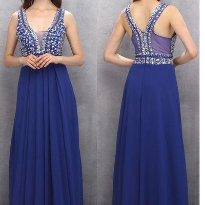 V-neck beading blue prom dresses,long prom dress,chiffon prom gowns,evening dresses