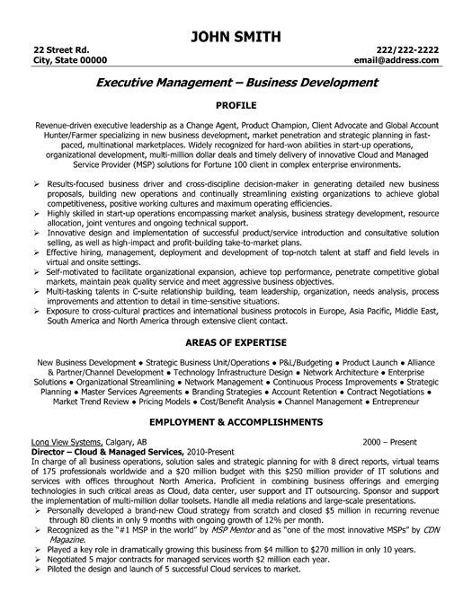 Good executive resume sample