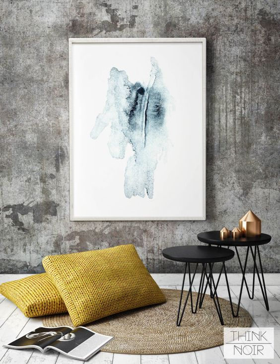 Watercolor Wall Art / Blue Modern Wall Poster / by ThinkNoir