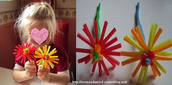 Fleurs r alis es avec des pailles explications sur mon blog printemps fleurs activit s - Activite manuelle fleur ...