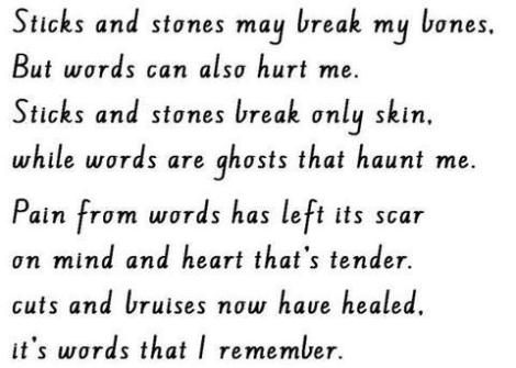 sticks and stones make break my bones, but words will never hurt me essay Sticks and stones may break your bones, but words will always hurt me - with  a  do you know students who want critical essay reviews from a professor of.