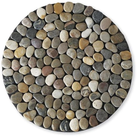 Chiasso pebble round floor mat natural 38 liked on for River stone doormat