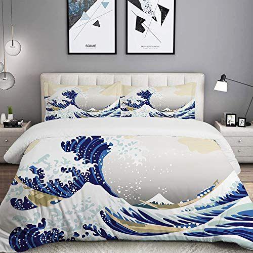Mobeiti Parure De Lit Adultehousse De Couettemotif Hokusai Japonais Ukiyoe A Theme Asiatique Oriental Style Croquis Oce Parure De Lit Housse De Couette Couette