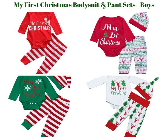 Baby Boy My First Christmas Bodysuit Pant Sets