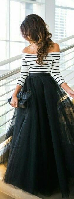 black tulle maxi  +srtiped off the shoulder// holiday perfect