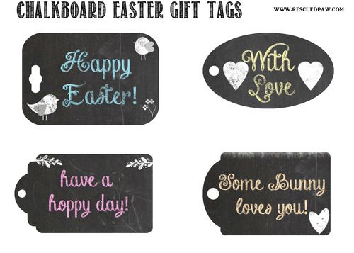 Free Chalkboard Printable Easter Gift Tags  via www.rescuedpaw.com  #gifttags #free #easter