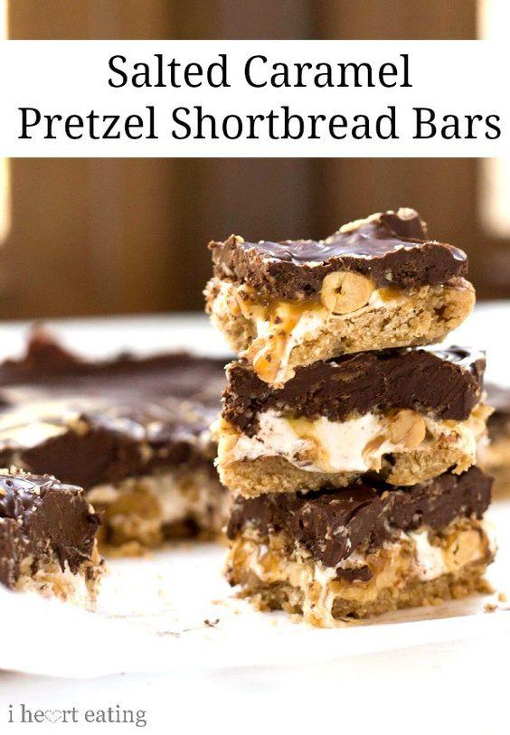 Salted Caramel Pretzel Shorbread Bars Recipe