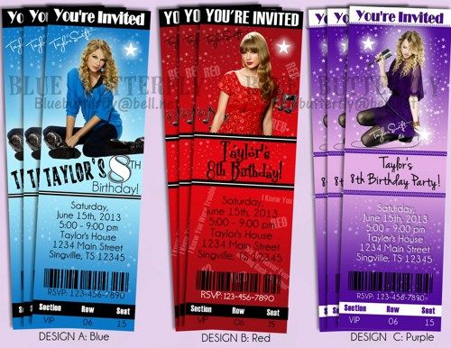 Taylor Swift Party Invitations Ticket Style - Thank You Card - concert ticket invitations template