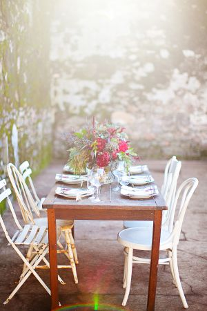 Outdoor Table and Chairs by Stone Wall   photography by http://www.hannahsuh.com/   floral design by http://www.huckleberrykarendesigns.com/   event design by http://amandaocreative.com/  
