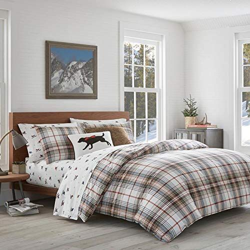 2 Piece Plaid Red White Duvet Twin Cover Set Mid Century Modern Contemporary Plaid Dog Theme Reversible Beddi Red Comforter Sets Plaid Comforter Red Comforter