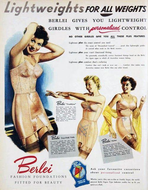 Berlei: Control Foundation, Fab Fashion, Vintage, Lace Panties, Advertising, Binding Sheer, Lingerie Swimwear Ads