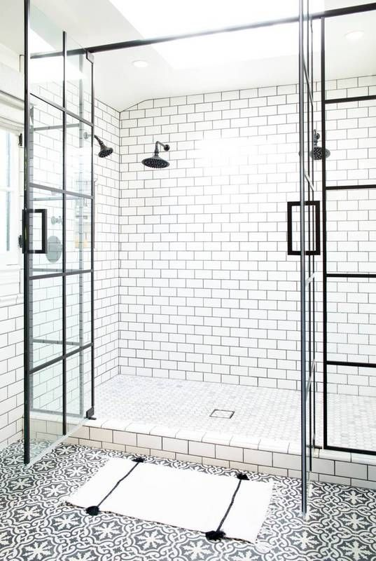 Steel-paned shower doors