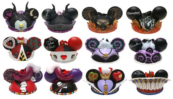 Mickey Mouse Christmas Ear Hat Ornaments of Disney Villains - front and back of Villains: Maleficent, Chernabog, Queen of Hearts, Ursula, Captain Hook, and The Queen from Snow White