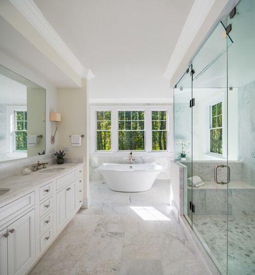 Large Traditional Master Bathroom Idea In Dc With Freestanding Bathtub White Cabinets Wh Free Standing Bath Tub Master Bathroom Design Bathroom Interior Design