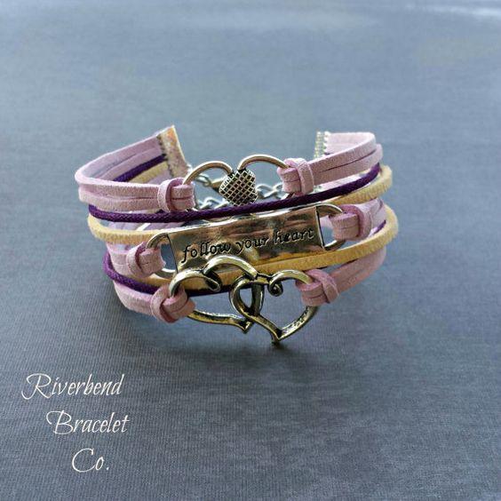 Double Heart Bracelet Inspirational Quote by RiverbendBraceletCo
