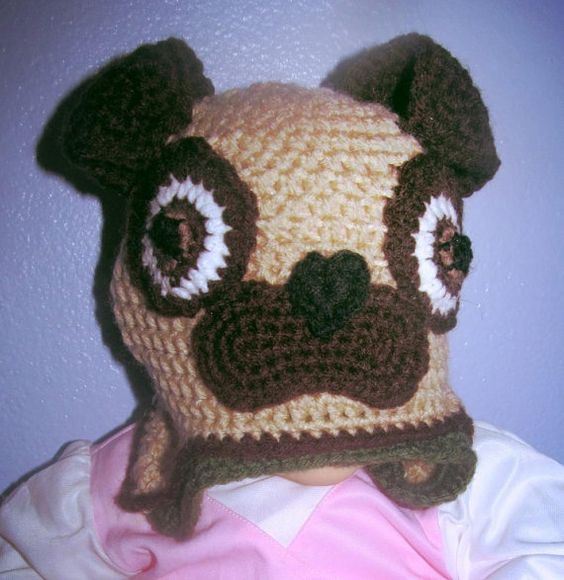 Pug hat All sizes Free Shipping in US by NStitchesCrochet on Etsy, $30.00