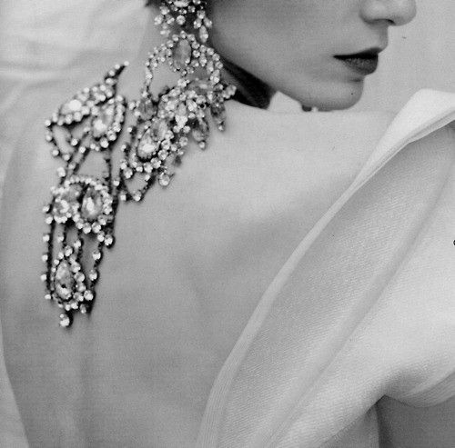Glamorous, black & white jewelry shot..