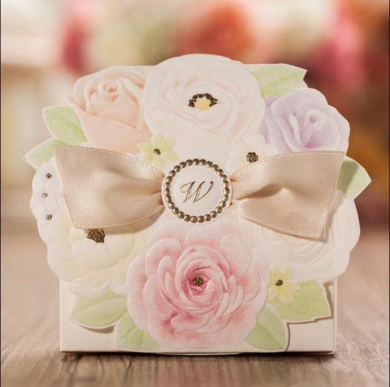 Bruiloft Snoep Tas Bloem Koreaanse Elegante Romantische Decoratie Laser Cut Sweet Bow Strik Party Papier Geschenken Gunsten Doos Voor Gast