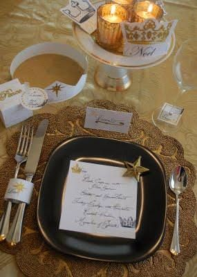 A gorgeous black, gold, and white themed dinner with all the creative accents like: frame, invitation, napkin rings, and place cards.View This Tutorial