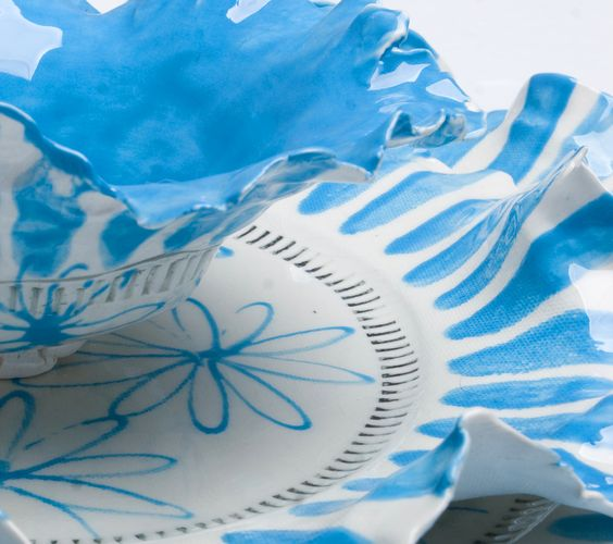 Sky Blue Daisy Stripe Decadence Set. These pieces leave a lasting impression as the fingerprints are permanently embossed creating a design feature of their own.: