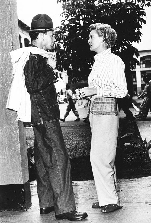 Frank Sinatra and Deborah Kerr on the set of From Here to Eternity (1953)