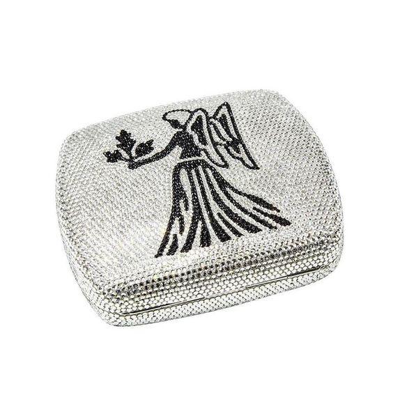 Judith Leiber Swarovski Crystals Zodiac Minaudière Brand New Unused Handbag Rnin5MZ6yo