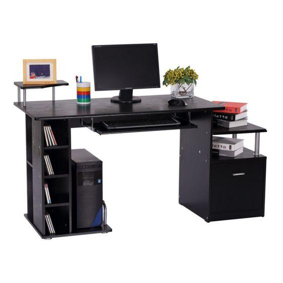 Interior Design Bureau Pour Ordinateur Details Sur Homcom Bureau Informatique Table Pour Ordinateur Pc En Desk Storage Desk Desk With Drawers