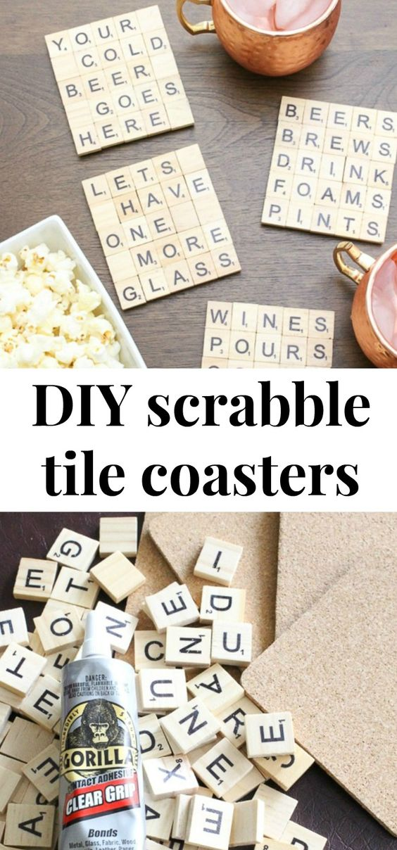 These scrabble tile DIY coasters are so cute! These would make great Christmas gifts or hostess gifts! Love how you can customize them for whatever you want – sports, drinks etc! Click through for the easy tutorial for DIY scrabble tile coasters! #diy #coasters #scrabbletile #crafts #diyproject