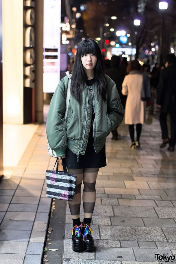 MA-1 bomber jacket - a Tokyo winter trend item - on the street in
