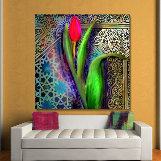 wall art decalmural largefloral arttuliparabesquelarge home