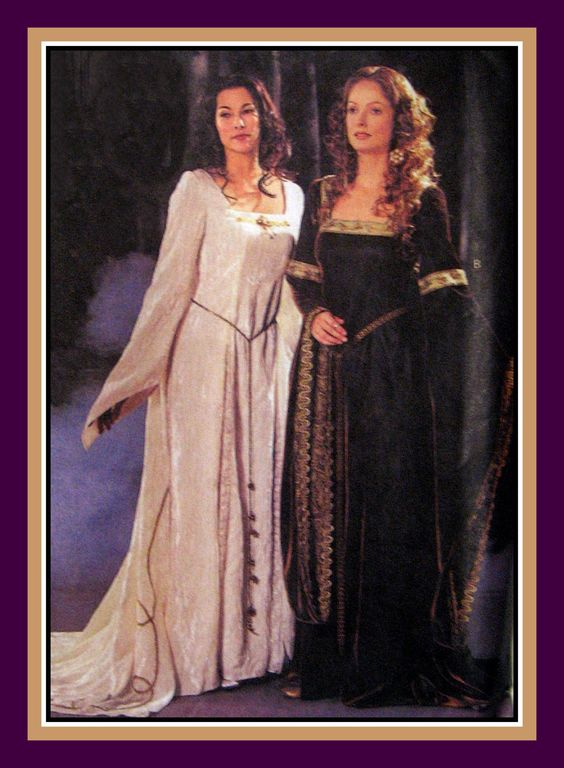 MAID MARIAN GOWN-Costume Sewing Pattern-Two Styles-Angel Flutter Sleeves-Square…