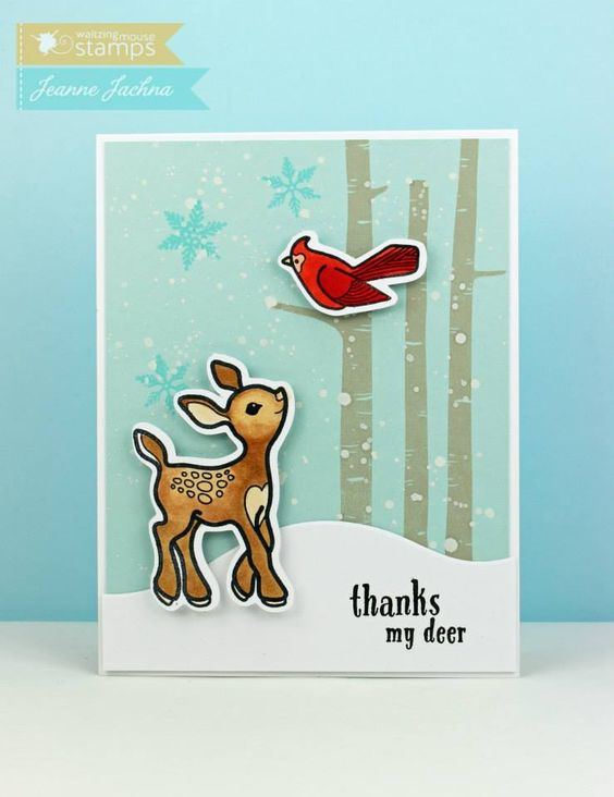 September 2014 New Release - Day One. Card by Jeanne Jachna featuring Little Deer stamp set. More Design Team Inspiration here - http://wmsinspiration.blogspot.co.uk/2014/09/september-2014-new-release-previews-day.html Store - www.waltzingmousestamps.com