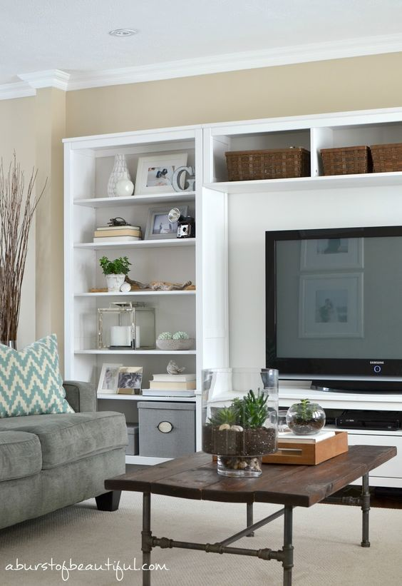 Tv Unit In Living Room: Beautiful, Spring And White