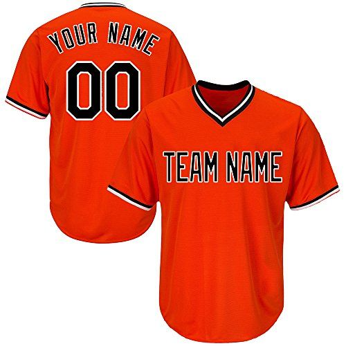 Custom Youth Orange V Neck Replica Stripe Baseball Jersey With Embroidered Team Name And Numbersblack Striped Baseball Jersey Team Names Custom Baseball Jersey