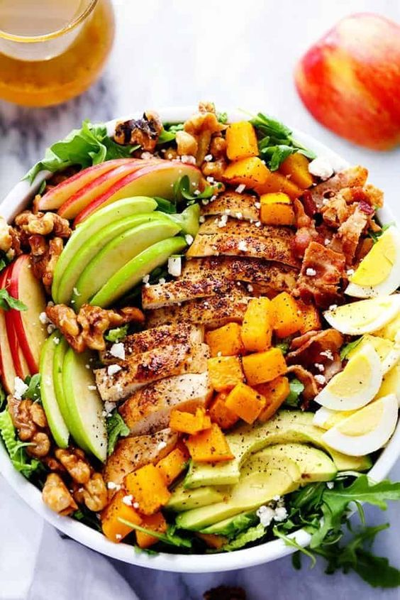 Harvest Cobb Chicken Salad with a Honey Apple Cider Vinaigrette