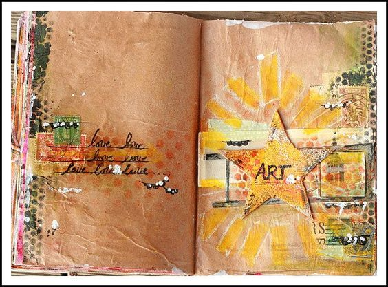 journal page on brown paper