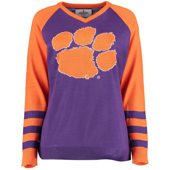 Clemson Tigers Women's Logo V-Neck Sweater - Purple | Clemson ...